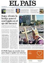 """Photo: Rajoy afronta la huelga general con España en el ojo del huracán; Benedicto XVI: """"Cuba y el mundo necesitan cambios""""; y El PSOE logra un escaño clave para llegar al poder en Asturias, en nuestra portada del jueves 29 de marzo http://srv00.epimg.net/pdf/elpais/1aPagina/2012/03/ep-20120329.pdf"""