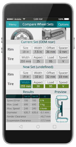 wheelCal: Wheel Size Calculator Measure Tire & Rim 1.1.2 screenshots 4