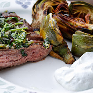 Grilled Skirt Steak with Herb Salsa Verde