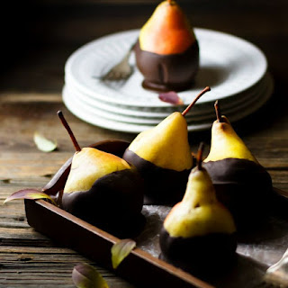 Dipped Dark Chocolate Pears