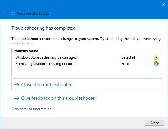Problem found in Windows Store Apps Troubleshooter