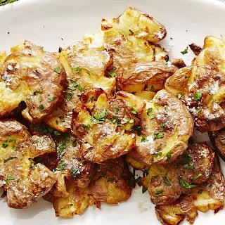 Crispy Golden Smashed Potatoes.