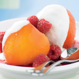 Poached Peaches with Yogurt