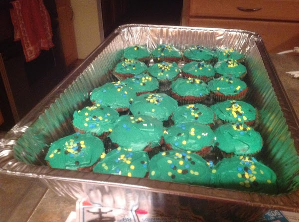 Cool completely before frosting. Add the peppermint extract to the can frosting and stir...