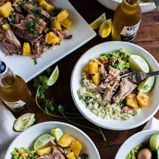 Slow Cooker Pineapple Pulled Pork with Cilantro Lime Cauliflower Rice + Guacamole.