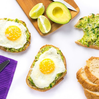 Open-Faced Avocado Sandwich with Egg and Parmesan.