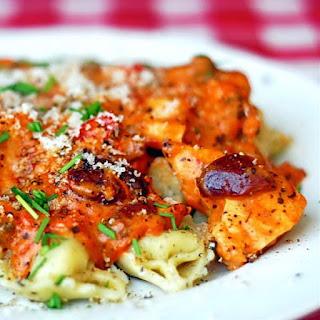 Tortellini with Chicken in Spicy Blush Puttanesca Sauce.