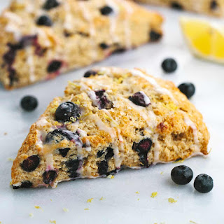 Whole Wheat Blueberry Scones with Lemon Glaze