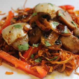 Garlicky Fried Sweet Potato Noodles With Teriyaki Mushrooms – Gluten Free, Vegan.