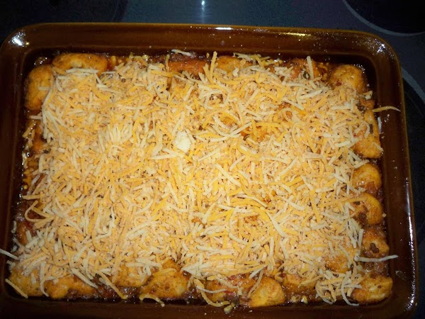 Take out of oven and sprinkle cheese on top. Bake an additional 10 minutes....