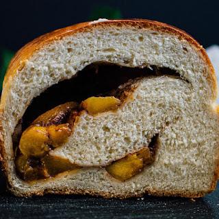 Roasted Sweet Balsamic Peaches Stuffed Honey Buttermilk Bread