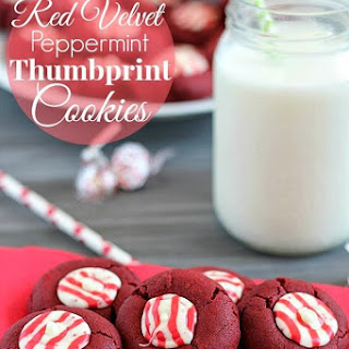 Red Velvet Peppermint Thumbprint Cookies.