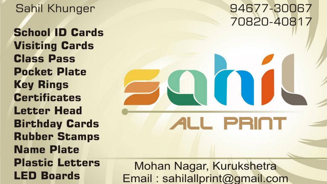 Sahil All Print - Printing Services in Kurukshetra Area