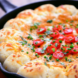 Chili Cheese Skillet Dip With Garlic Cheese Bombs.