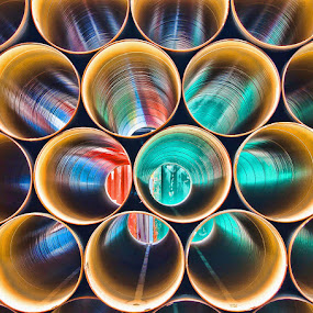 The colour pipeline by Ian Damerell - Abstract Fine Art ( abstract, circles, shipping, dockyard, fine art, lines, pipes, colours, shapes, circle, pwc79 )