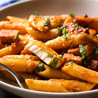 Penne Alla Vodka with Chicken and Chorizo.
