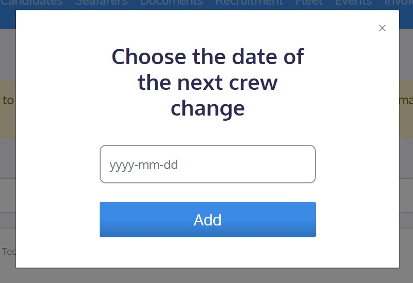screenshot of the Martide website showing where to choose the crew change date