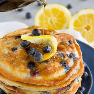 Paleo Lemon Blueberry Pancakes {Gluten Free, Grain Free, Dairy Free}.