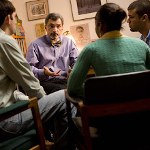 Photo: Dr. Gossai in a discussion with students.