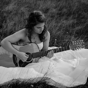 Lovin that 12-String by H. Ava-Lyn Smith - People Portraits of Women ( black and white, 12-string guitar, gown, guitar, portrait )