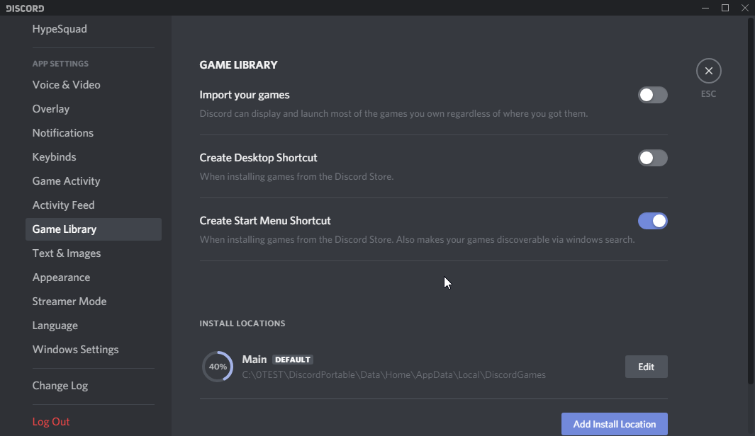 thumbapps.org Discord portable, App settings > Game Library