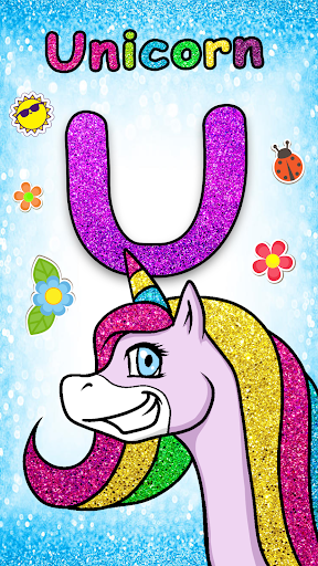 Glitter Number and letters coloring Book for kids screenshot 6