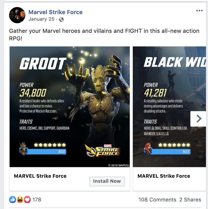 Marvel Strike Force playing card carousel on Facebook