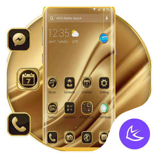 Golden Silk APUS Launcher Theme