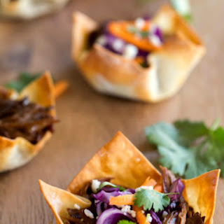 Slow Cooker Korean BBQ Taco Cups.
