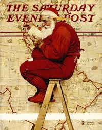 Santa at the Map Norman Rockwell