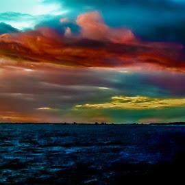 Boat Sunset Kauai by Joseph Vittek - Digital Art Places