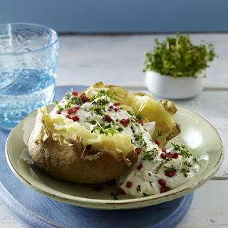 Baked Potato with Cream Cheese and Ham