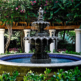 Fountain by Neil Dern - Artistic Objects Other Objects ( water, color, fountain, flowers, pillars )