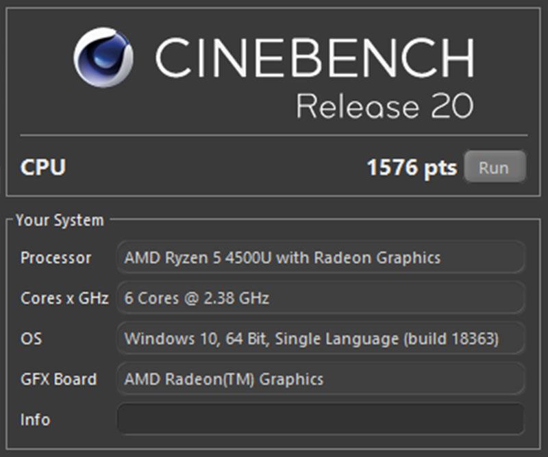 Đo hiệu năng của HP X360 13 bằng Cinebench