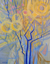 """Photo: """"Sunburst"""", acrylic by Nancy Roberts, copyright 2015. Private collection."""
