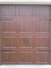 Photo: Clopay GD1SP Door. Only 6' wide with Walnut UltraGrain finish. Installed by Cedar Park Overhead Doors 512-335-7441