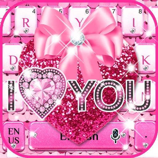 Pink Sequin Heart keyboard