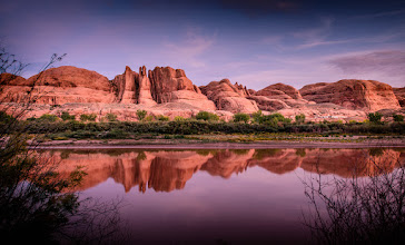 "Photo: While they Climbed  Here in Moab at ""Wall Street"" my friends climbed a difficult route and I took pictures of them and then I shot across the river for a few at sunset.  #minimoab"