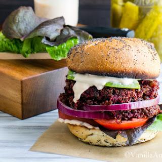 Smoky Quinoa Beet Veggie Burgers with Adobo Aioli.