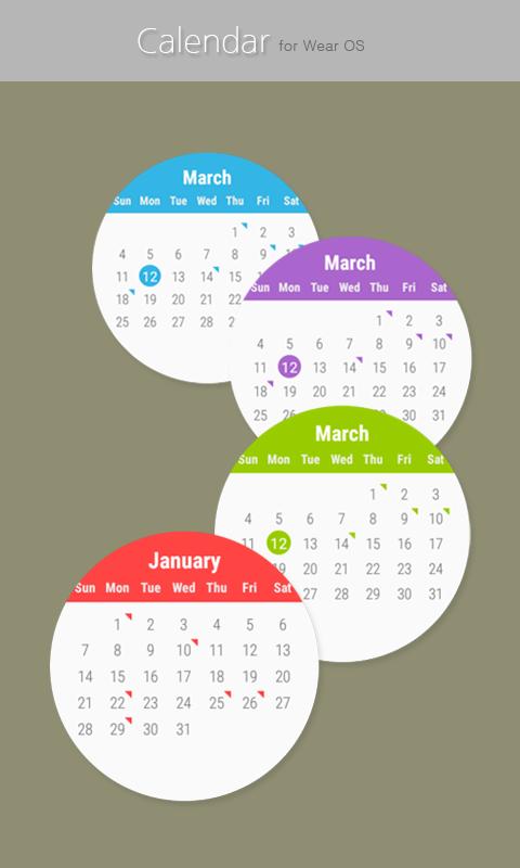 Calendar for Wear OS screenshots
