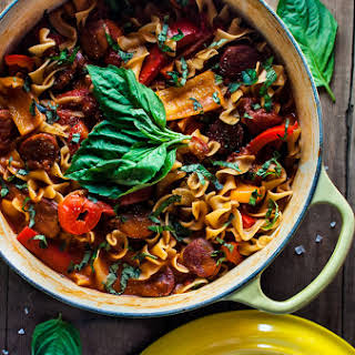 One Pot Chorizo, Bell Pepper, and Tomato Noodles.
