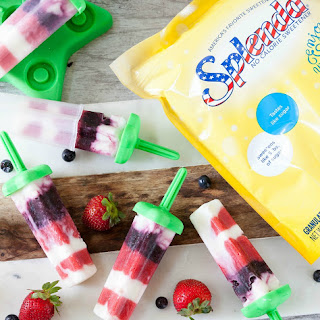 Healthy Red White Blue aka Strawberry Blueberry Vanilla Popsicles.