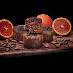 Orange Delight by Brett Styles - Food & Drink Fruits & Vegetables ( orange, almond, muffin, food, board,  )
