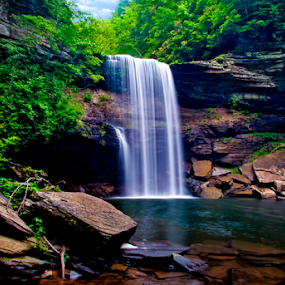 Greeter Falls by Steve Rogers - Landscapes Waterscapes ( greeter falls, mountain, tennessee, waterfall, cascade )