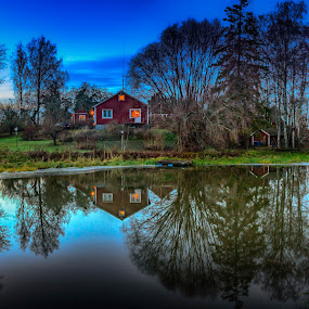 by Nikos Diavatis - Landscapes Waterscapes ( sweden, reflection, red house, hdr, night photography )