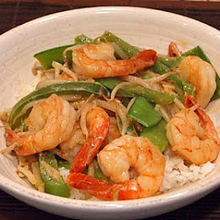 Coconut Curry Stir Fried Shrimp.