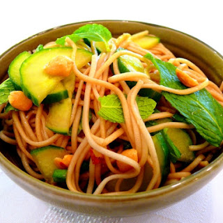 Asian Noodle Salad with Peanuts and Mint Recipe