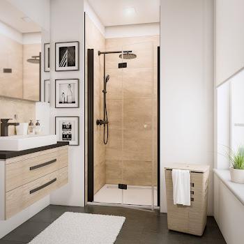 Porte de douche pivotante-pliante, style industriel, profilé noir