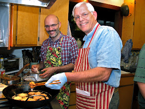 Photo: John and Giorgio frying taro fritters