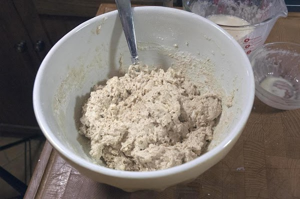 Add the liquid to the flour and gently mix until all the flour is...